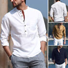 NEW Men's Linen Long Sleeve Solid Shirts Casual Loose Soft Dress Tops Blouse Tee