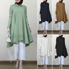 ZANZEA Women Muslim Abaya Jilbab Tops Casual Long Sleeve Flared Shirt Blouse NEW