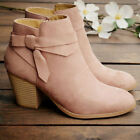 Womens Suede Ankle Boots Chelsea Ladies Chunky Heel Booties Zip Up Shoes Size