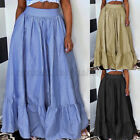 Women High Waist Ruffle Tiered Skirt Holiday Party Loose Swing Maxi Dress Plus