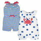 Gerber Baby 2-Pack Baby Girls Crab Rompers