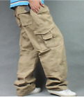 Men Baggy Loose Overalls Cargo Work Pants Plus Size Cotton Straight Trousers Hot