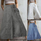 Women's Striped High Waist Wide Leg Casual Loose Culottes Palazzo Pants Trousers
