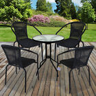 Black Wicker Bistro Sets Outdoor Garden Furniture Table Rattan Chairs Seat Patio