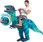 Inflatable Costume Dinosaur Riding a Raptor Air Blow-up Size