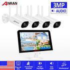"ANRAN CCTV 3MP HD Wireless Security Camera System 13""LCD 4CH NVR Indoor/Outdoor"