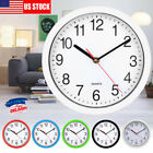 Modern 8 Inch Round Wall Clock Silent Quartz Non-ticking Battery Home Hanging US