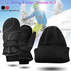 Winter Snow Ski Gloves Waterproof Beanie Hat Set For Skiing Skating Snowboarding