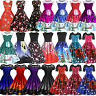 Ladies Rockabilly Dress Christmas Xmas Evening Party Swing Dresses Skaters