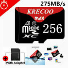 KRECOO 256GB Waterpoof Micro Memory SD Card Class 10 Flash TF Card Fast 275MB/s