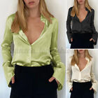 Womens Silky Satin Long Sleeve V Neck Button Up Shirt Work Formal Blouse Tops US