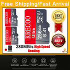256GB/128GB/64GB Micro SD 4K Class10 280MB/s High Speed Memory Card with Adapter