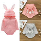 Newborn Baby Girls Boys Infant Bunny Hooded Romper Bodysuit Outfit Cute Jumpsuit