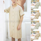 Mens Short Sleeve Nightshirt Pajamas Kaftan Sleepwear Bathrobe Dressing Gown Top