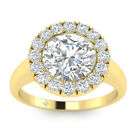 1.76ct F-VS2 Diamond Halo Engagement Ring 18K Yellow Gold ANY SIZE