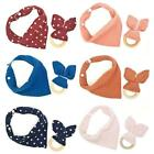 2Pcs Baby Cotton Bib Wood Ring Pacifier Teether Set Snap Button Triangle Scarf