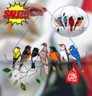 Multicolor Birds on a Wire High Stained Glass Suncatcher Window Panel Home Decor