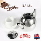 1/1.5L Stainless Steel Teapot Kettle Coffee Pot With Tea Leaf Filter US Stock