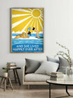 And She Lived Happily Ever After-Dog Poster, Dog Artwork, Dog Printable, Beach