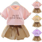 Two-piece Toddler Baby Girls T-shirts Shorts Set Kids Casual Summer Clothes 1-7Y