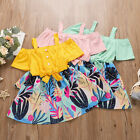 Summer Toddler Kids Baby Girl Short Sleeve Floral Skirt Princess Bow Party Dress