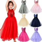 Wedding Sequined Flowers Girl Dress Tutu Formal Evening Dresses Party Bridesmaid
