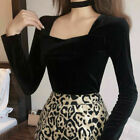 Lady Long Sleeve Chic Stretch Pullover Velvet Square Neck Blouse Tops T-shirt