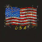 USA Glitter Flag T-Shirt america new Crest Patriot