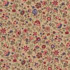COTTON UPHOLSTERY CURTAIN FABRIC ANTIQUE FLORAL BEIGE