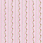 "COTTON CLOTHES DRESS PAJAMA FABRIC SHABBY FLORAL ROSE STRIPE PINK BLUE 44""W BTY"