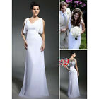 Chiffon Column V-neck Brush Train Wedding Dress