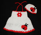 Handmade Crochet Baby Dress & Matching Hat *Lady Bug*
