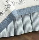BLUE TICKING STRIPE Twin or Queen BEDSKIRT : TREASURES DUST RUFFLE