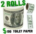 (2) One Hundred Dollar Bill Toilet Paper Money Roll $100 - Funny Gag Gift Joke