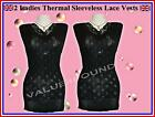 2 Pieces LADIES THERMAL LACE SLEEVELESS SPENCER VESTS BLACK Warm