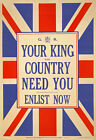W80 Vintage WWI British King & Country Need You Enlist War Poster WW1 A1 A2 A3