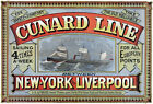 TS3 Vintage Shipping Cunard Line New York Liverpool Ship Poster Print A1 A2 A3