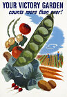 2W81 Vintage WWII Victory Garden Grow Your Own Vegetables War Poster WW2 A2 A3