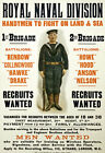 WA74 WWI British Royal Navy Men Wanted Recruitment War Poster WW1 A1 A2 A3