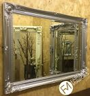 NEW Bright Silver Shabby Chic Framed Ornate Overmantle Mirror CHOOSE YOUR SIZE