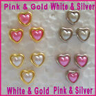 12 HEART SHAPED PEARL BRADS - Choose White or Pink & Gold or Silver - 6mm Hearts