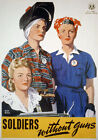 """Vintage WWII Women Soldiers Without Guns War WW2 Poster A3 12"""" x 17"""" 2W91"""
