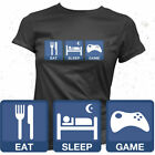 Eat Sleep Game Girls Black T-shirt Gift For Gamer Gaming Console Computer Games