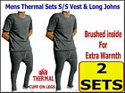 2 SETS Mens Thermal Brushed Short Sleeve Vest & Long Johns CHARCOAL GREY warm