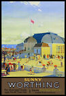 TU50 Vintage Sunny Worthing Railway Travel Poster Print A2/A3