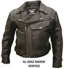 FALL SALE Mens Vented Naked Leather Motorcycle Jacket Full Sleeve Zip Out Liner