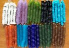 Strand of Frosted Matte Freeform Button Beach Sea Glass Beads YOU PICK 10 COLORS