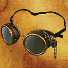 Steampunk Goggles with Side Chain, Brass or Silver Finish