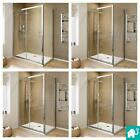 Walk In Sliding Door Glass Screen Tall Shower Enclosure Cubicle with Stone Tray