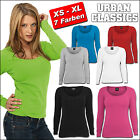 URBAN CLASSICS DAMEN LADIES BASIC LONGSLEEVE T-SHIRT TOP SHIRT SLIM FIT  XS - XL